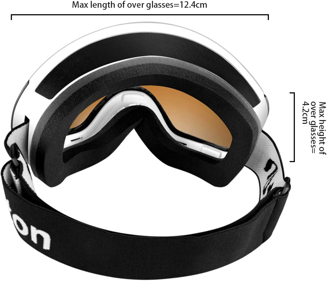 100/% UV Protection Anti-Fog with Magnetic Interchangeable Spherical Mirrored Lens Dutton OTG Ski Goggles Snowboard Snow Goggles Over Glasses for Men Women and Youth