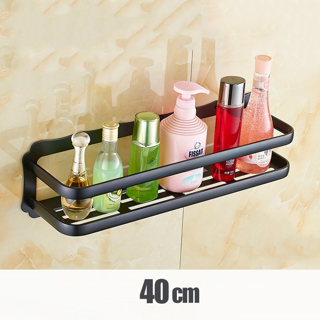 Space Aluminum Shelf Bathroom Toilet Washbasin Triangle Shelf Sucker Wall Mount Bathroom -40CM ( Color : Black ) by LITINGMEI Shelf