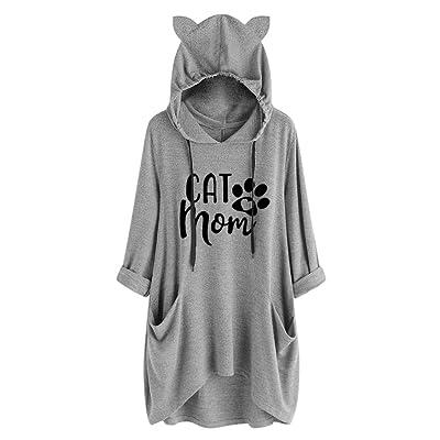Women Cat Ear Hoodie, Long Sleeve Pocket Flowy Sweatshirt Blouse Casual Loose Drawstring Shirt Tops- i Do What i Want: Clothing