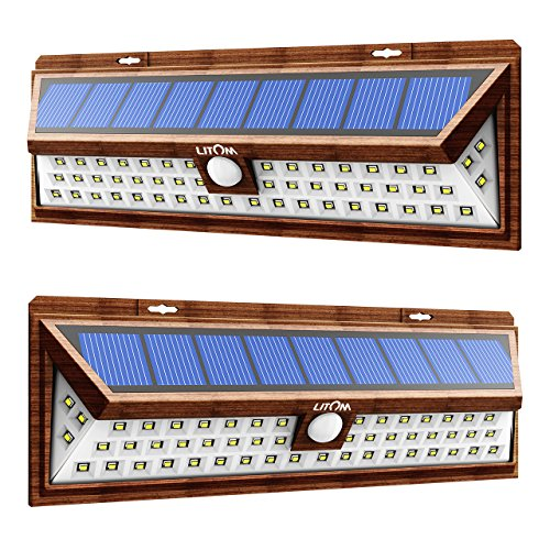 Cheap LITOM Solar Lights Outdoor, Super Bright Wide Angle Solar Powered Light, Wireless Security Waterproof Wall Lights for Garage Patio Garden Driveway Yard RV(2 Pack)