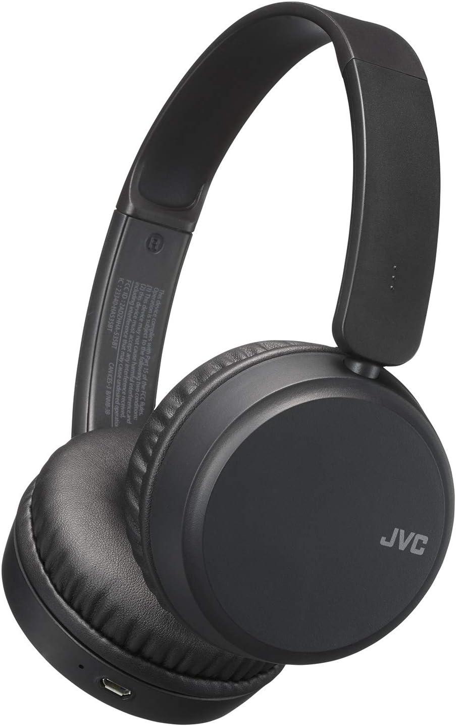 JVC Deep Bass Wireless Headphones, Bluetooth 4.1, Bass Boost Function, Voice Assistant Compatible, 17 Hour Battery Life - HAS35BTB(Black)