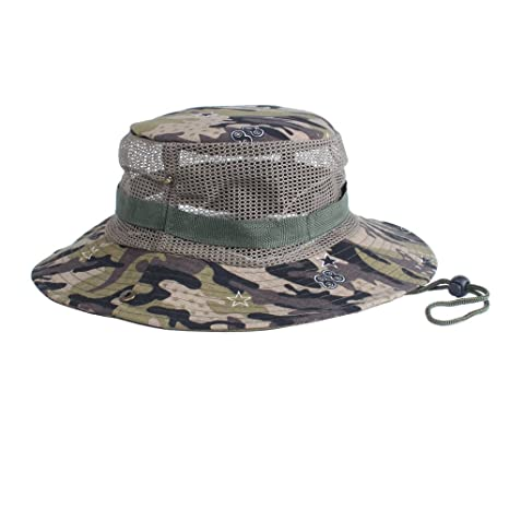 9d2e8d8b6ab Amazon.com   ALWLj New Unisex Men and Women Outdoor Jungle Bucket Hats Mesh Fishing  Hunting Wide Boonie Cap Sun Protection Caps Flat   Sports   Outdoors