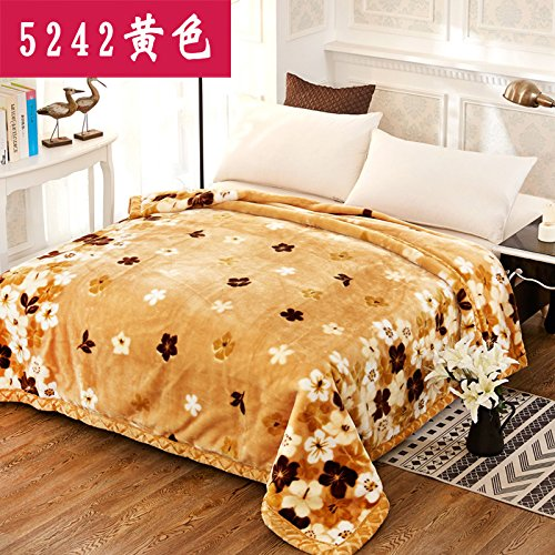 Double thick Soft fleece blanket blanket encryption is not hair does not play ball blanket thick autumn and winter double bunk ,150x200cm (4 pounds) Double thick ,5242- Yellow by Znzbzt