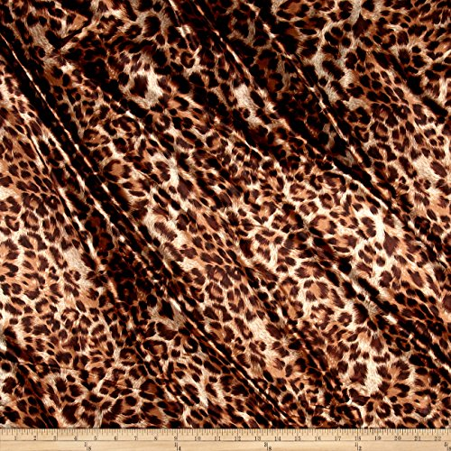 (Ben Textiles Charmeuse Satin Leopard Brown Fabric by The Yard)