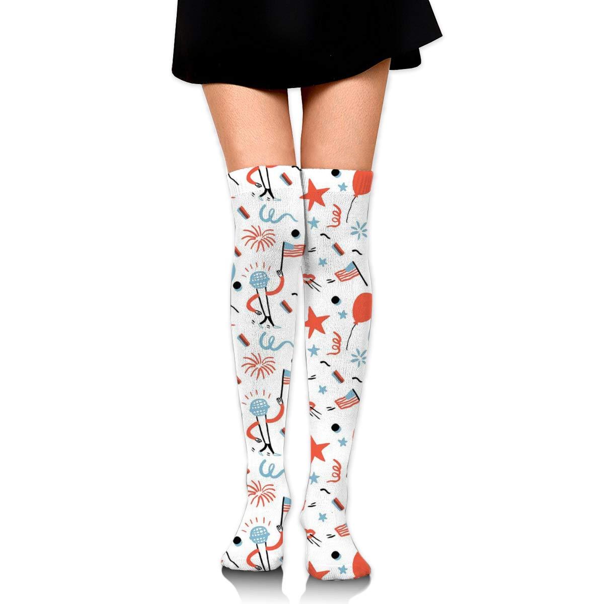 Women Crew Socks Thigh High Knee Star Hillary Pat Long Tube Dress Legging Soccer Compression Stocking