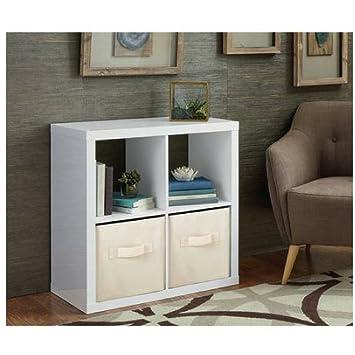 Better Homes And Gardens Bookshelf Square Storage Cabinet 4 Cube Organizer  (High Gloss White