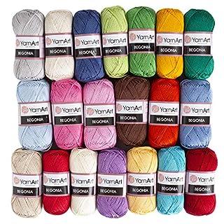 20 Skein Yarnart Begonia Yarn, 100% Mercerized Cotton, Each 1.76 Oz (50g) / 185 Yrds (169m), Fine Sport: 2, Version 2