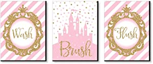 Big Dot of Happiness Little Princess Crown - Kids Bathroom Rules Wall Art - 7.5 x 10 inches - Set of 3 Signs - Wash, Brush, Flush