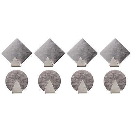 8 Set Etiqueta Adhesivas Ganchos de acero inoxidable redondo y cuadrado, toalla gancho, gancho