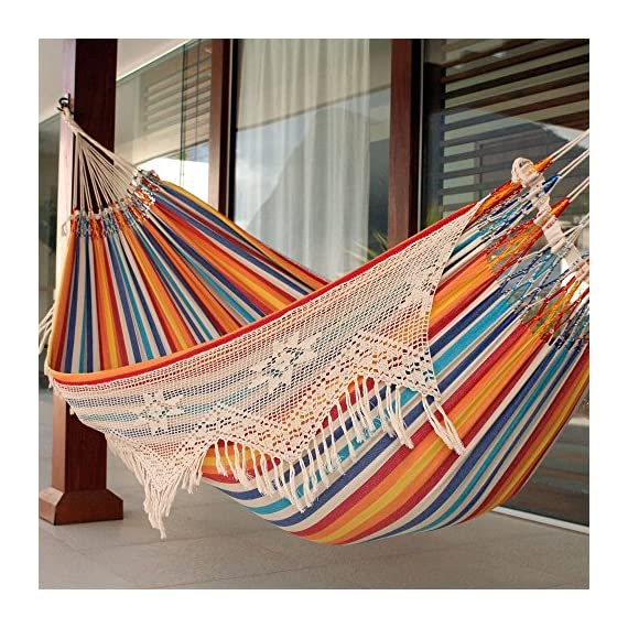 "NOVICA Multi-Color Striped Cotton 2 Person Hand Woven Hammock with Crochet Fringe, Festive Brazil' (Double) - Size: 139.4"" L x 65.3"" W Authentic: an original NOVICA fair trade product in association with National Geographic. Certified: comes with an official NOVICA Story Card certifying quality & authenticity. - patio-furniture, patio, hammocks - 61PWKouOgbL. SS570  -"