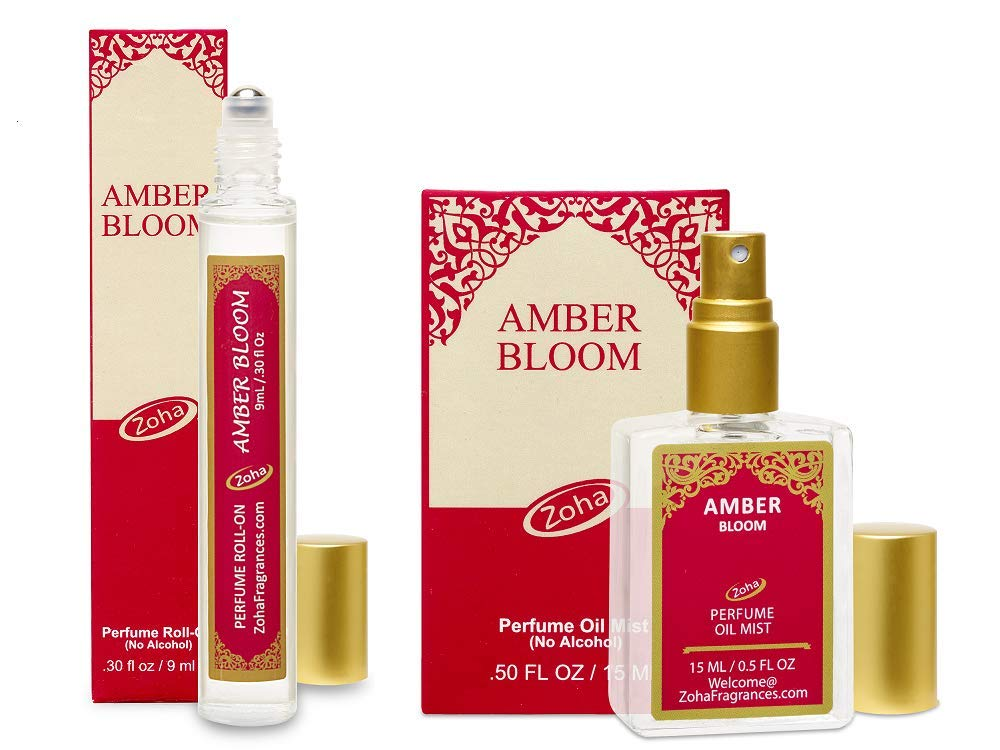 Amber Bloom Perfume Oil - Set of 9ml Roll-On and 15ml Oil Mist (no Alcohol spray) Clean Beauty Hypoallergenic Vegan Parfum for Women and Men by Zoha Fragrances