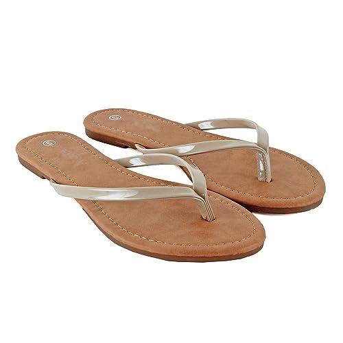 5fbc5d5a21fb Guilty Heart - Womens Classic Beach Thong Flat Flip Flop Sandal  Wedges-Sandals
