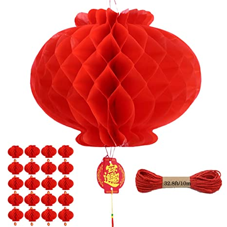 Chinese Red Lanterns Decoration For Chinese New Year Spring Festival Wedding Restaurant Party Baby Shower Chinese Party Supplies 20 Pieces
