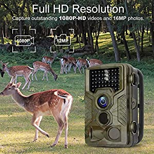 "BYbrutek Trail Camera, 16MP 1080P Full HD Deer Hunting Game Camera, 0.2S Motion Activated Wildlife Camera with 46 PCS 850nm IR LEDs Night Vision up to 65ft, 2.4"" LCD Display, IP56 Waterproof (H881)"