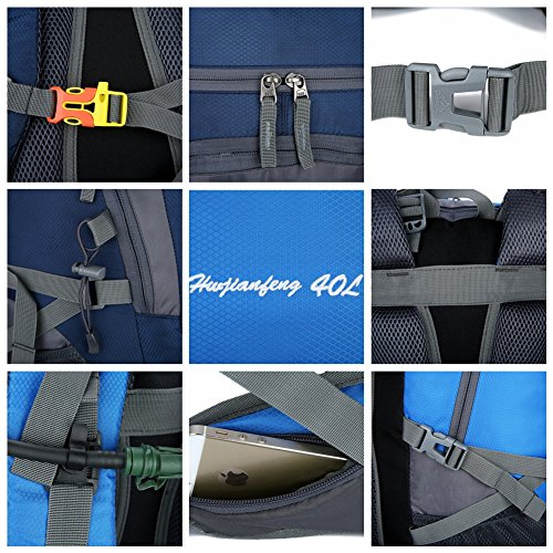 Bag Bike Gift Rucksack Christmas Sports Waterproof blue Best Hiking Backpack Travel Outdoor 40L Dark Camping Mens Breathable 1vxwOAqP