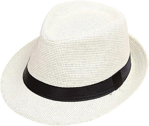 Little Boys Girls Straw Fedoras Cap Jazz Hat Short Brim Summer Beach Sun Hat