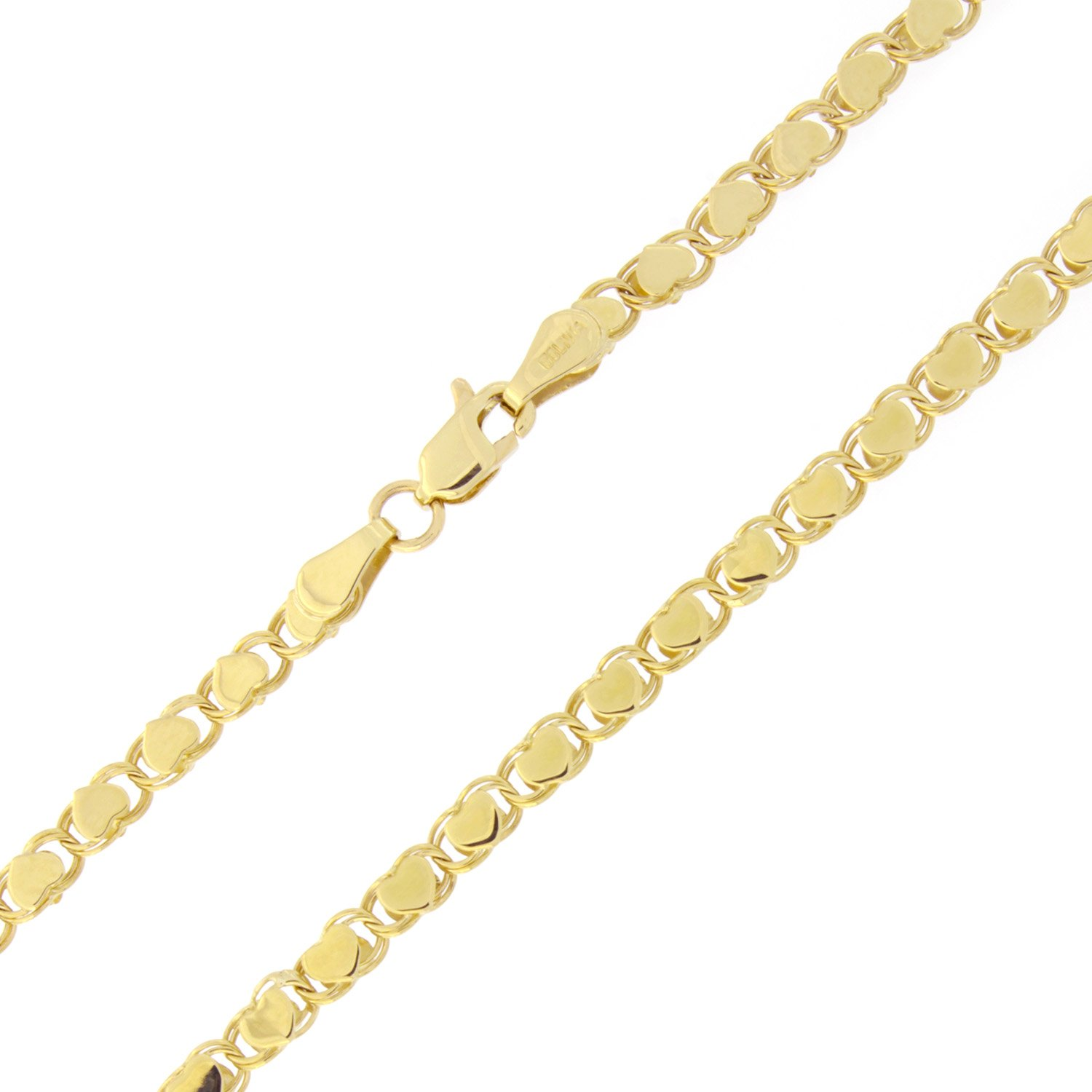 Beauniq 10k Yellow Gold 2.6 Millimeters Diamond-Cut Hearts Chain Anklet 10 Inches