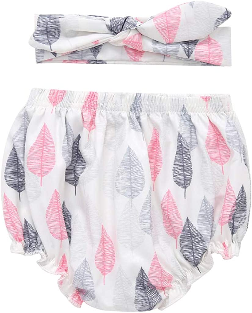 Infant Baby Girl Diaper Covers Cotton Underwear Short Panties with Headband Set Bloomers