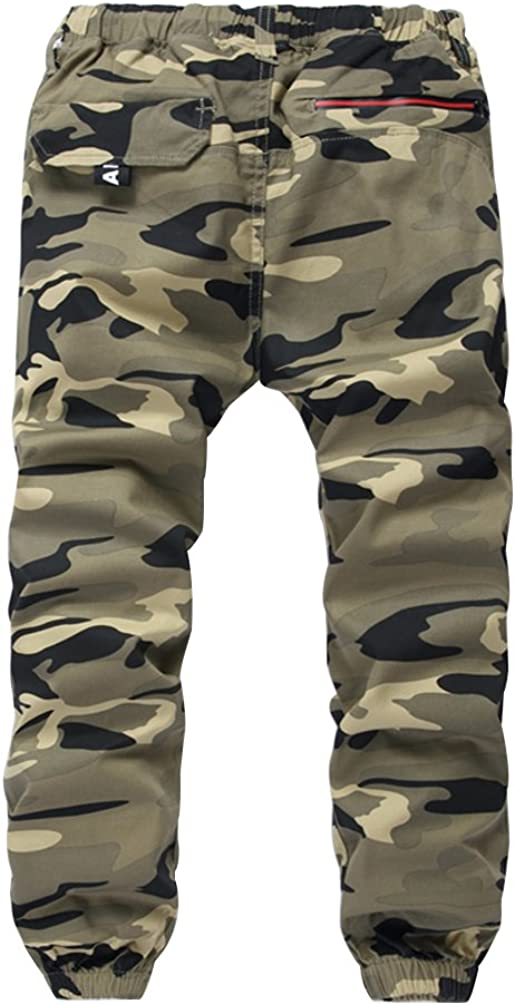 LOKTARC Boys Pull On Drawstring Jogger Pants Camo Print Cuff Jogging Bottoms