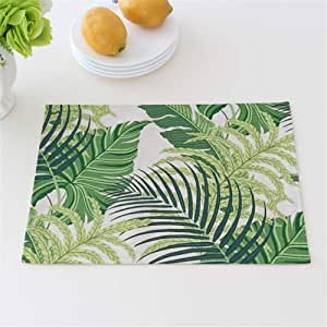 Table Mats The Nordic Green Tropical Plants Cotton Linen Western Insulation Coasters, 30 * 40cm Family Use