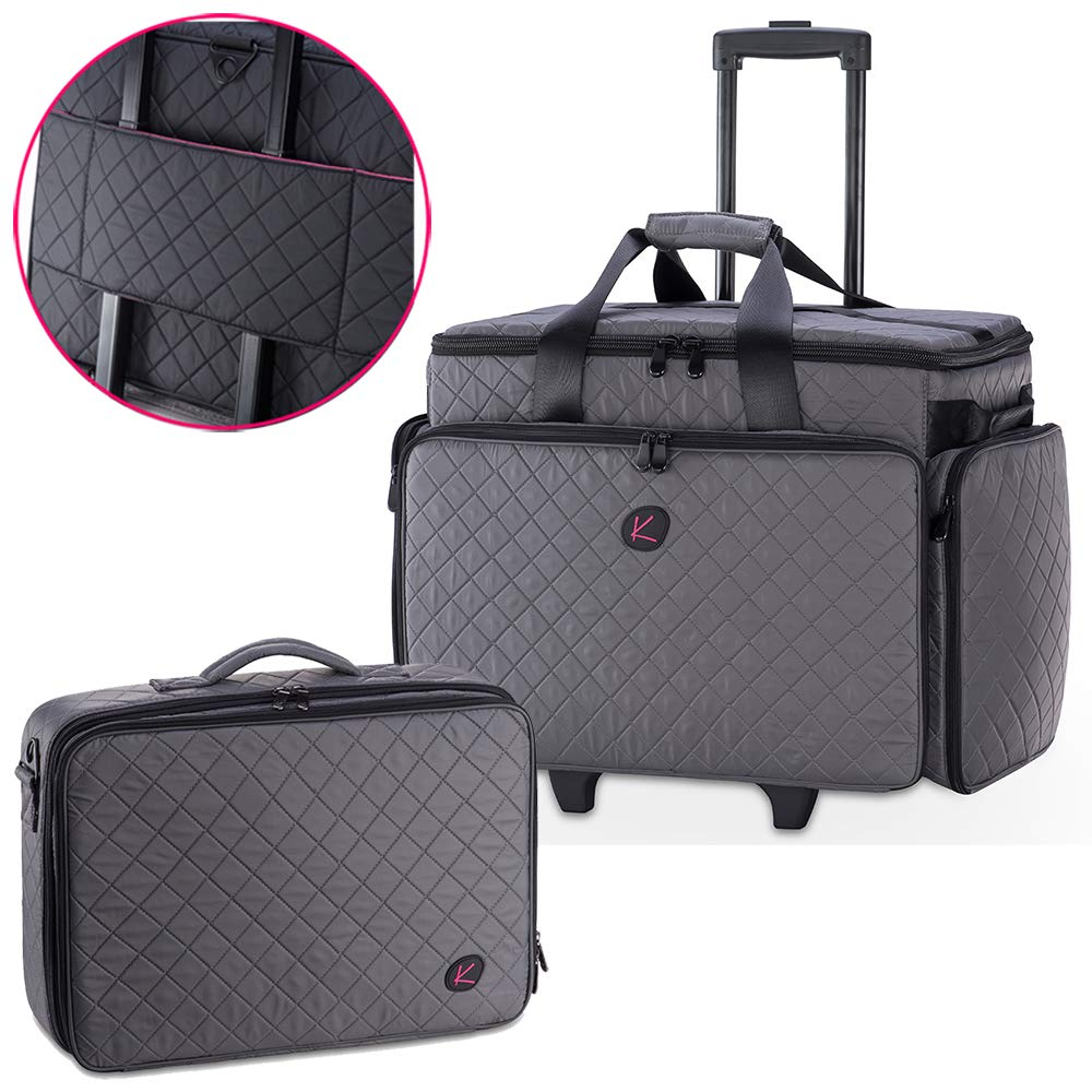 KIOTA - 2 in 1 Makeup Artist Case Set on Wheels, Soft Cosmetic Case with Trolley, Removable Clear Bags, Dividers, Dural Layers Makeup Box (Slate)