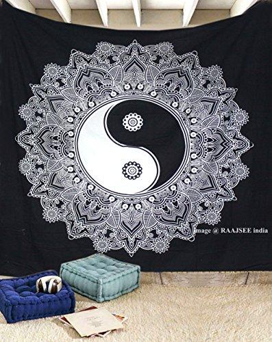 raajsee Black and White Yin Yang Ombre Mandala Tapestry Wall Hanging 210x220 cms Queen/Hippie Beach Throw Tapestries/Boho Dorm Decor Hippy Bohemian Bedspread Meditation Rugs Yoga Mats (Yin Yang)