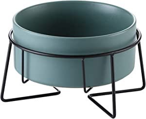 Ceramic Dog Bowls with Metal Stand, No Pill Dog Food & Water Bowl Set, Elevated Cat Bowl Pet Feeder Dishers (Green)