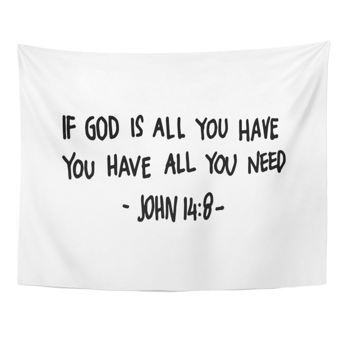 TOMPOP Tapestry Religious If God Is All You Have Need Lettering Bible Verse Modern Calligraphy Christian Faith Word Home Decor Wall Hanging for Living Room Bedroom Dorm 60x80 Inches