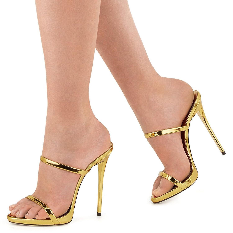 Amy Q - talón abierto mujer , color Dorado, talla 41.5