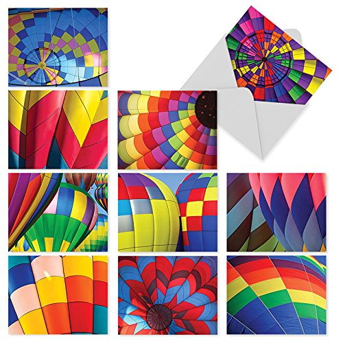Hot Colorful Air Balloons - 10 'Hot Air' Note Cards with Envelopes (Mini 4