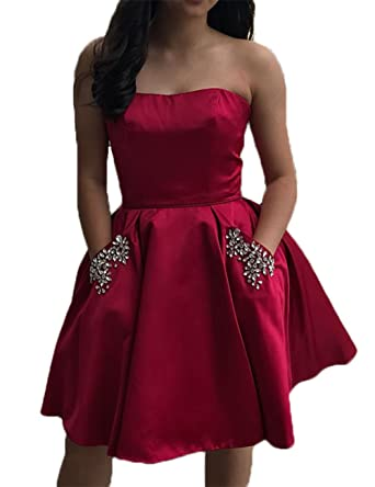 Libaosha Strapless Satin Short Prom Dresses With Pockets Homecoming Dresses (US2, Dark Red)
