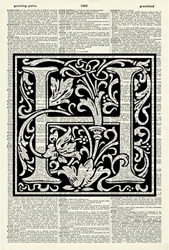 - LETTER H - ALPHABET ART PRINT - VINTAGE ART PRINT - WILLIAM MORRIS Art Print - Personalised Name - Black & White Print - Personalised Gift - Vintage Dictionary Print - Wall Art - Book Print - 529D