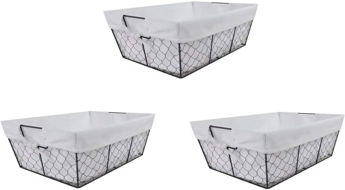 THE NIFTY NOOK I Set of 3 I Farmhouse Wire Basket Liner Set I Home and Kitchen Storage Red /& Black Check