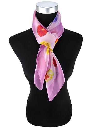 pañuelo satén de la gasa rosa lila amarillo rojo morado motivoo floral - paño 90 x 90 cm