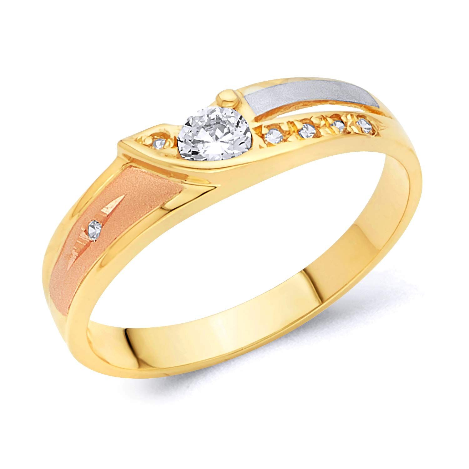 Wellingsale Mens 14K 3 Tri Color White Yellow and Rose//Pink Gold Diamond Cut CZ Cubic Zirconia Wedding Ring Band
