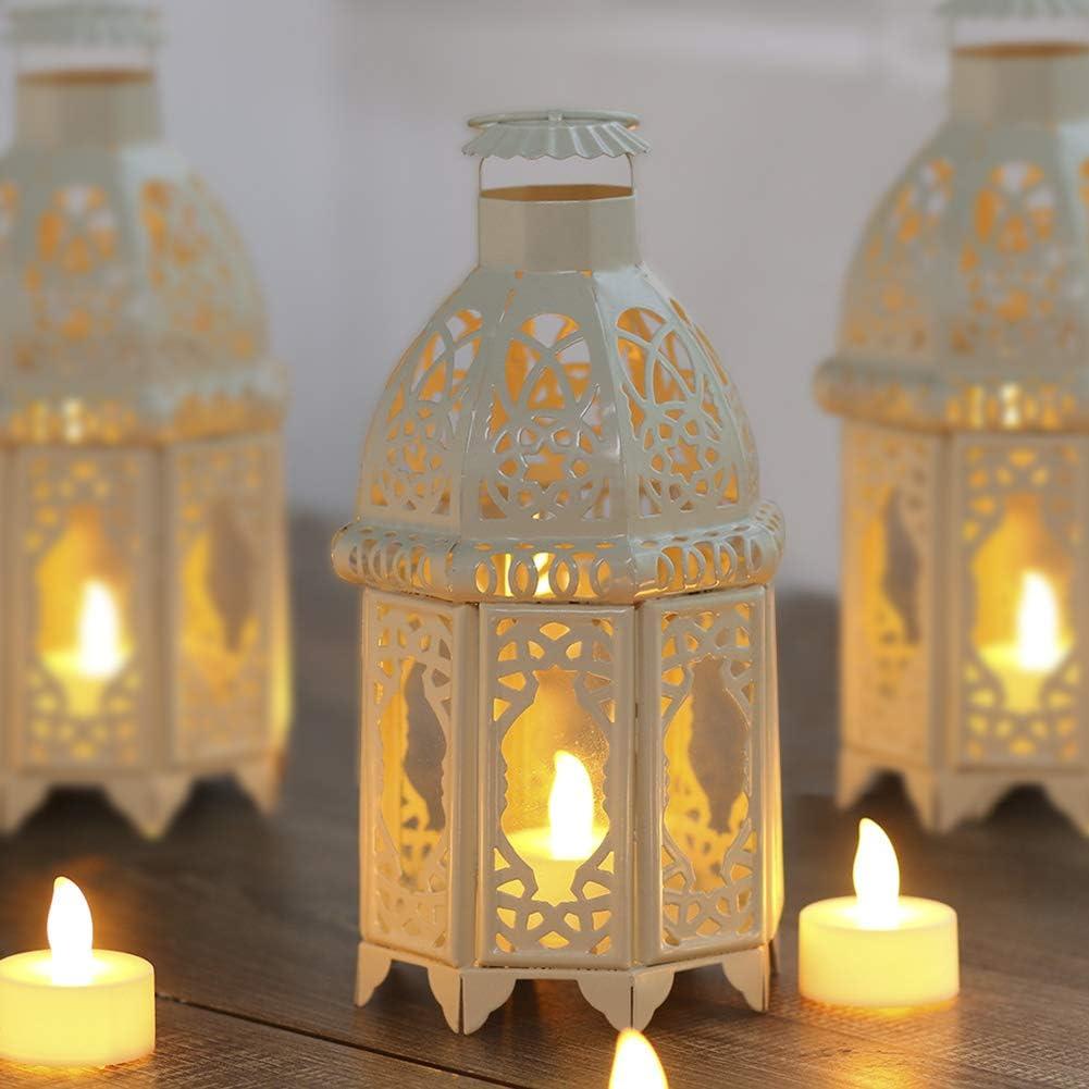 Wuuudi - Portavelas de metal con diseño de jaula de pájaros, estilo vintage, candelabro para bodas y fiestas, estilo marroquí, color blanco