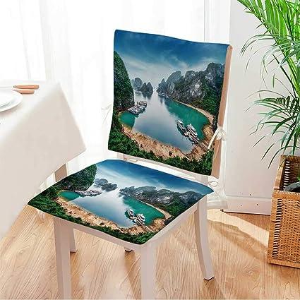 2 piece set chair pad tourist junks floating among limestone rocks at ha long bay - China Kitchen Green Bay 2