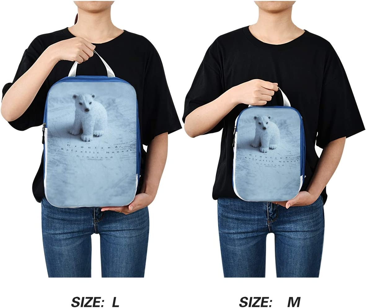 q Cute Polar Bear In Map 3 Set Packing Cubes,2 Various Sizes Travel Luggage Packing Organizers