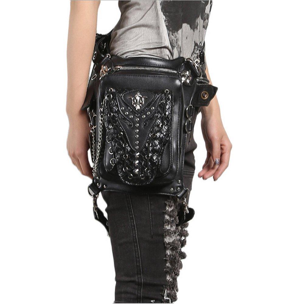 Chikencall Gothic Steampunk Waist Bag Drop Leg Arm Bag Pack Waist Shoulder Fanny Packs Purse Pouch Bag black