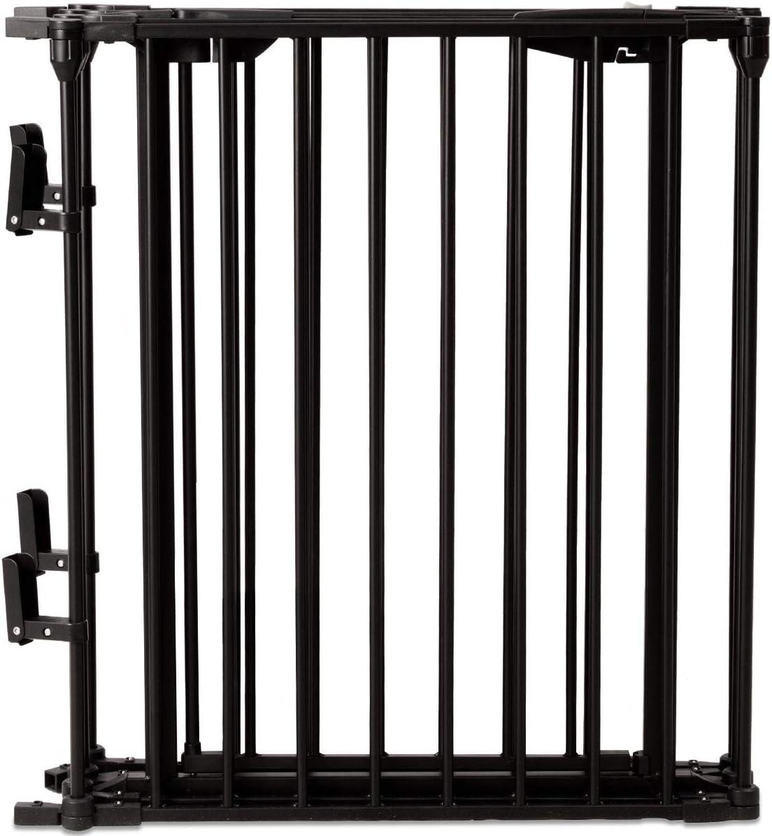GOPLUS Barri/ère de S/écurit/é Enfant B/éb/é Animal Noir Pare-feu Securit/é Escaliers 380X74,5CM Grill de Protection Cl/ôture de Chemin/ée en Fer 5 Barreaux avec 1 Porte