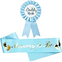 Blue Baby Shower Decorations Light Blue Sash for Mommy to be and one Daddy to Be Tinplate Badge, Kit Baby Shower…