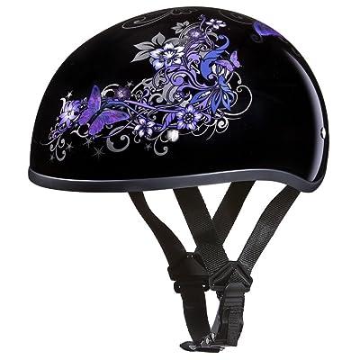 Daytona Helmets Motorcycle Half Helmet Skull Cap- Butterfly 100% DOT Approved: Automotive