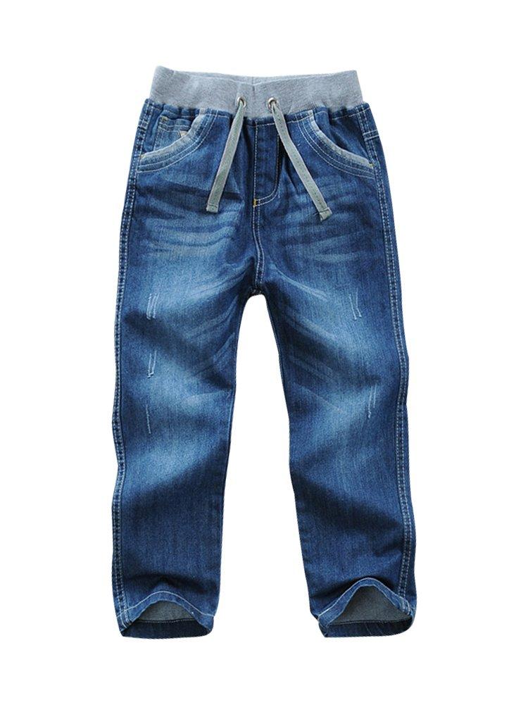 LISUEYNE Baby Boy Summer Spring Casual Blue Jean Long Holey Ripped Jeans Elastic Band Denim Long Jeans for Boys Green Line 130
