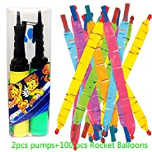 JOYOOO 100 PCS Toy Rocket Balloons,Giant Rocket balloons refill with Pair of Pumps SET, Party Favor Supplies Long Balloon Flying Whistling(colors may vary) by JOYOOO