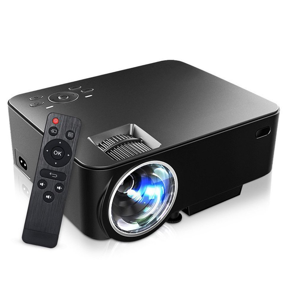 Portable Projector, Mini LCD LED 800x480 Entertainment Multimedia Video Projector Support 1080P Full HD Mute Fans with USB AV SD HDMI VGA Interface Video Games Movie (T20 Black)