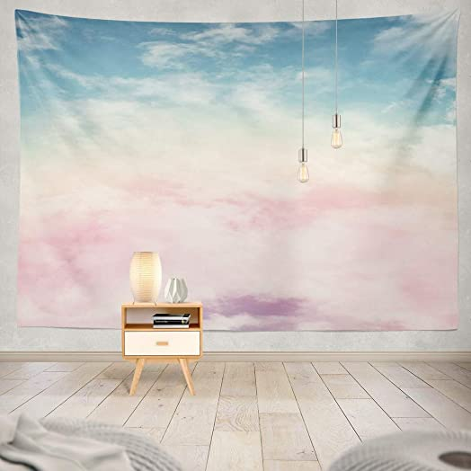 KJONG Sun and Cloud with Pastel Cloud Candy Color Pastel Sunset Pink Abstract Cotton Fantasy Rainbow Sky Gradient Art Decorative Tapestry,60X80 Inches Wall Hanging Tapestry for Bedroom Living Room
