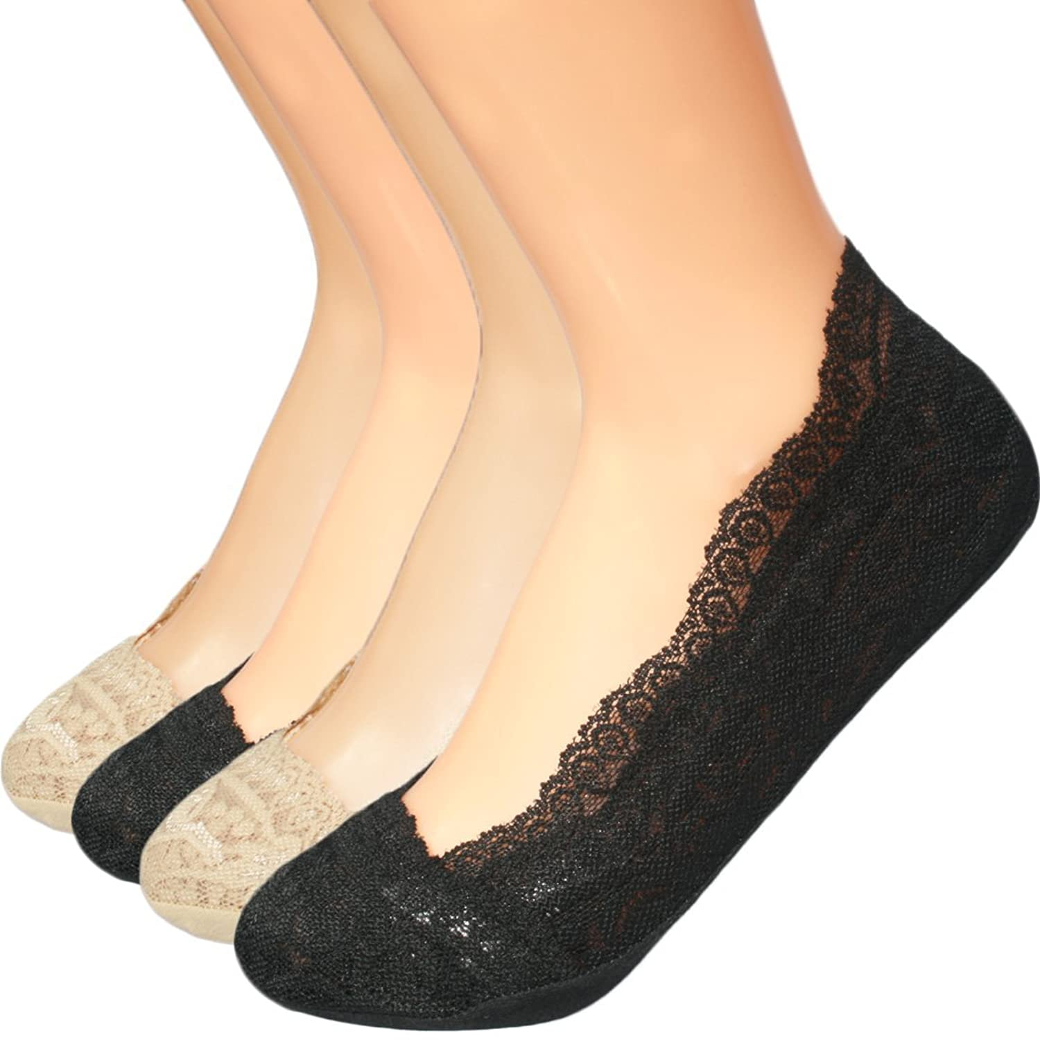 654a538ea5 Ultimate Non-skid Design - Silicone grip all around the sock cuff - Makes  the socks stay on your feet much better. Lace toe cover - Dainty and  feminine