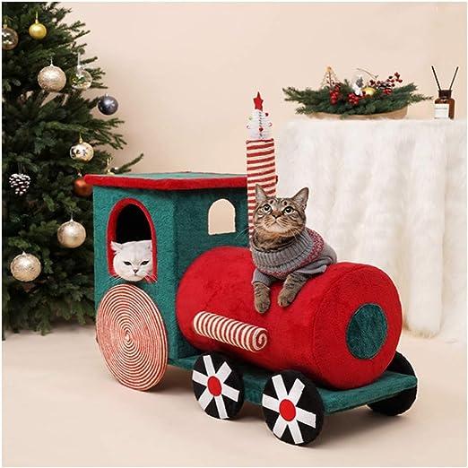 LYXDZW Tren De Navidad Árbol para Gato Torre De Escalada 92cm Gris Estable Rascador con Nidos Juguete para Gatos Poste De Rascar De Sisal Natural: Amazon.es: Productos para mascotas