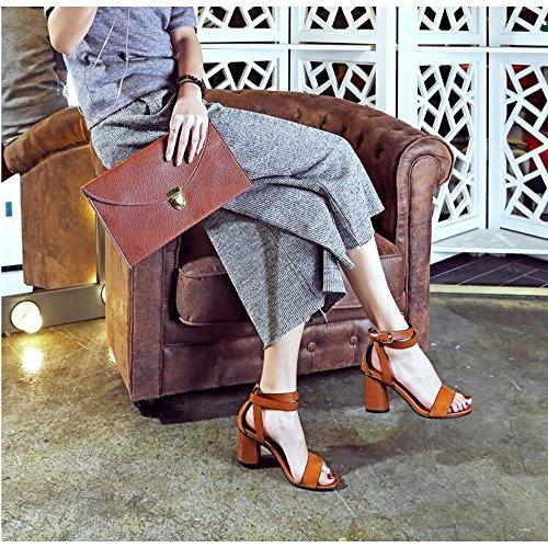Romanas Tacón Sandalias Tacón de de Vintage Mujer Marrón de Alto q11IpwBg