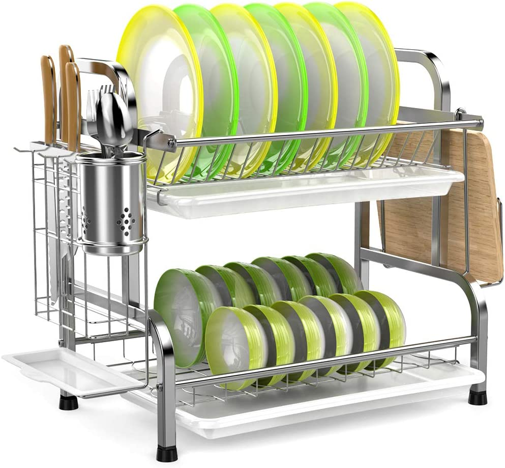 Dish Drying Rack, iSPECLE 304 Stainless Steel 2-Tier Dish Rack with Utensil Holder, Cutting Board Holder and Dish Drainer for Kitchen Counter